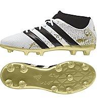 Adidas ACE 16.3 Primemesh FG/AG J - scarpe da calcio terreni compatti/sintetici bambino, White/Gold