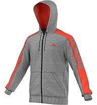 Adidas Essentials Linear 3S Full Zip Felpa Uomo, Core Heather/Semi Solar Red