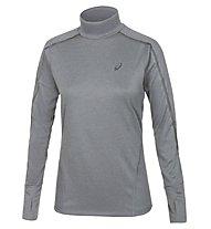 Asics Lite Show LS Neck Top maglia running donna, Dark Grey Heather