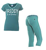 Freddy Pantaloni 3/4 + T-shirt ginnastica donna, Light Green/Green