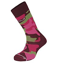 Hot Stuff Ski Camo Woman Merino-Skisocken für Damen, Camouflage Pink/Green