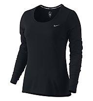 Nike Dri-FIT Contour Laufshirt L/S Damen, Black/Reflective Silver