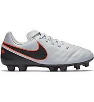Nike JR Tiempo Legend VI FG - Fußballschuhe Kinder, Grey/Black/Orange