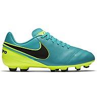 Nike Tiempo Legend VI FG Jr - scarpa da calcio terreni compatti bambino, Clear Jade/Black/Volt