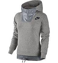 Nike Sportswear Advance 15 Pullover Hoodie Felpa con cappuccio fitness donna, Grey