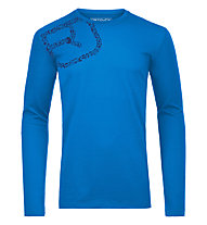 Ortovox 185 Equipment Logo Long Sleeve maglia merino a manica lunga, Blue Ocean