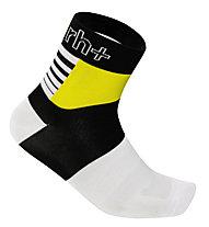 rh+ Calzini bici Zeta Sock 9 cm, White/Black/Fluo Yellow