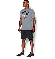 Under Armour Tech PTH Stencil T-Shirt Herren, Steel Grey/Black/Red