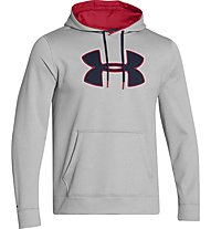 Under Armour UA Storm Fleece Big Logo Hoodie, True Grey Heater/Red/Academy
