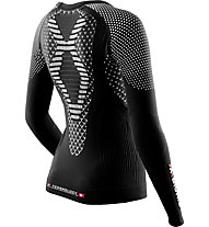 X-Bionic Twyce Running Lady Shirt Long - maglia running donna, Black/White